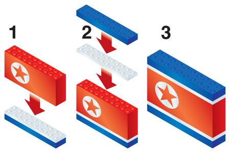 reorganize: Building blocks making North Korean flag