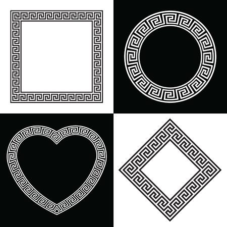 4 ギリシャのキーの境界線の枠の形状  イラスト・ベクター素材