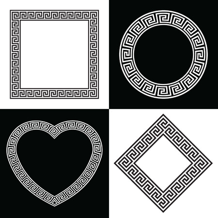 diamond shaped: Four Greek Key Border Frame Shapes Illustration