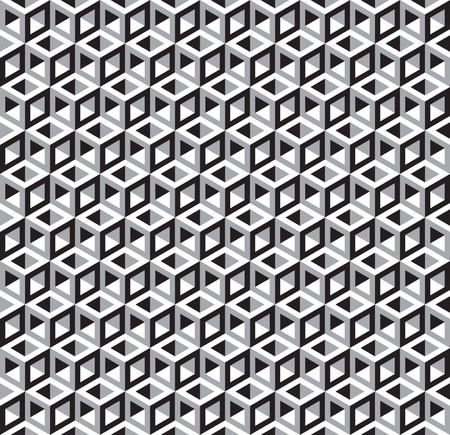 Seamless Optical Illusion Cube Pattern Texture - Black and White Vector