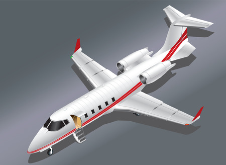 Detailed Isometric Vector Illustration of a Private Jet Parked for Boarding