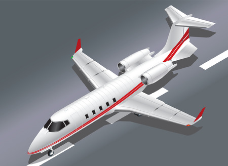 Detailed Isometric Vector Illustration of a Private Jet Taking Off