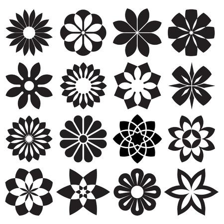 Vector Set of Graphic Flowers Vector