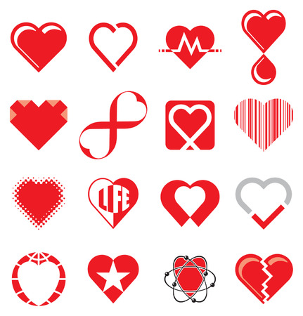 heart attacks: Set of Heart Concept Icons Illustration