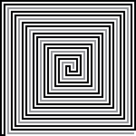 Right angle square spiral with inset path