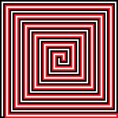right path: Right angle square spiral with inset path
