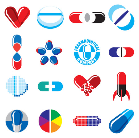 Set of Pharmaceutical Concept Icons Vector