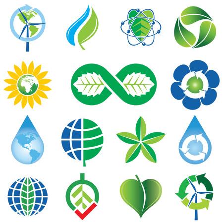 Set of Green Environmental Concept Icons Vector