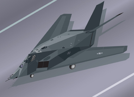 stealth: Detailed Isometric Illustration of an F-117 Nighthawk Stealth Fighter on the Ground