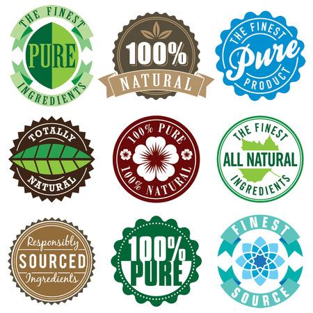 productos naturales: Conjunto de vector vendimia etiqueta