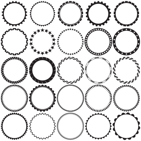 circular: Collection of Round Decorative Border Frames with Clear Background. Ideal for vintage label designs. Illustration