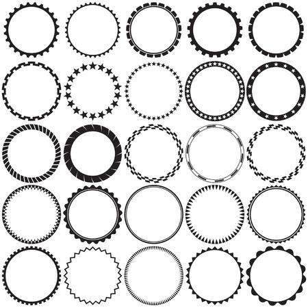 verschnörkelt: Sammlung von Round Decorative Border Frames mit klarer Hintergrund. Ideal für Vintage-Label-Designs.