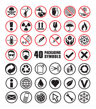 heart damage: Set of Round Packaging Symbols in Vector Format