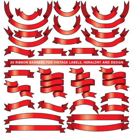 Set of thirty red vector banner ribbons
