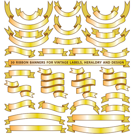 motto: Set of thirty golden yellow vector banner ribbons