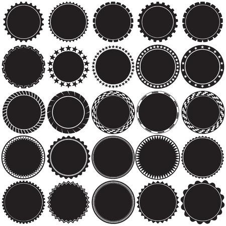 Collection of Round Decorative Border Frames with Solid Filled Background. Ideal for vintage label designs. Illustration