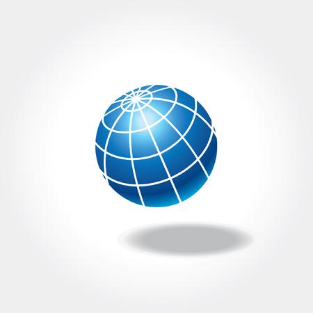 Blue world globe icon with shadow