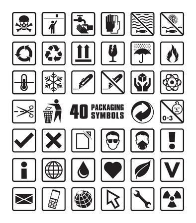 niños reciclando: Conjunto de símbolos de embalaje en formato vectorial