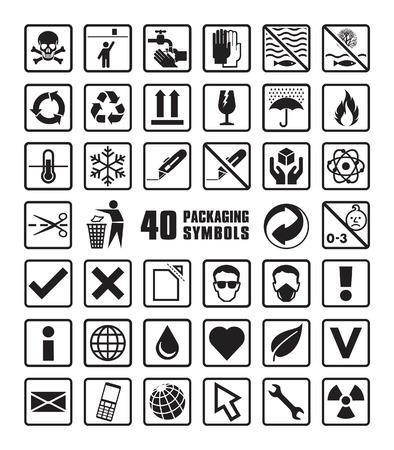 Set of Packaging Symbols in Vector Format Çizim