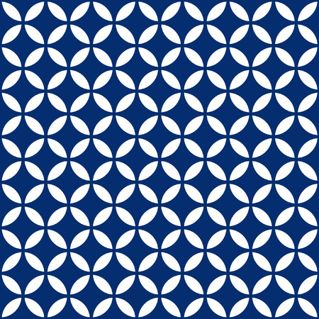 Seamless Intersecting Geometric Vintage Navy Blue Circle Pattern