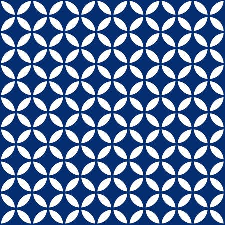 Seamless Intersecting Geometric Vintage Navy Blue Circle Pattern