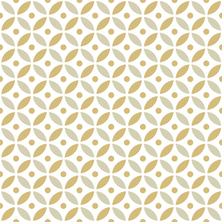 Seamless Intersecting Geometric Vintage Gold Circle Pattern  イラスト・ベクター素材