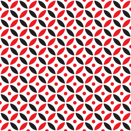 intersect: Seamless Intersecting Geometric Vintage Red and Black Circle Pattern