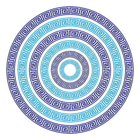 hellenistic: Vector Set of Six Round Greek Key Borders of Various Sizes Illustration