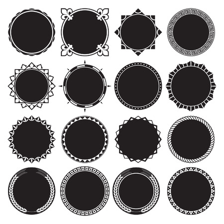 Collection of Round Decorative Border Frames with Solid Filled Background. Ideal for vintage label designs.  イラスト・ベクター素材