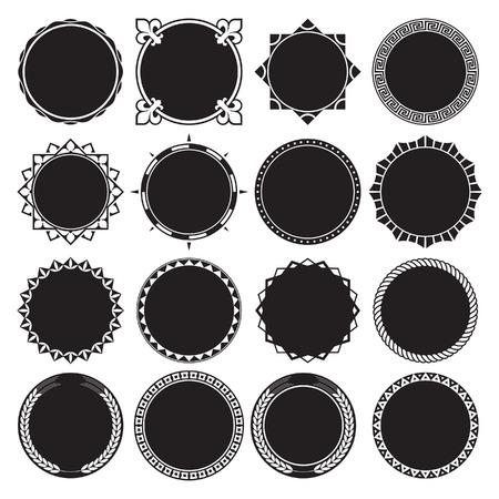 Collection of Round Decorative Border Frames with Solid Filled Background. Ideal for vintage label designs. Ilustração