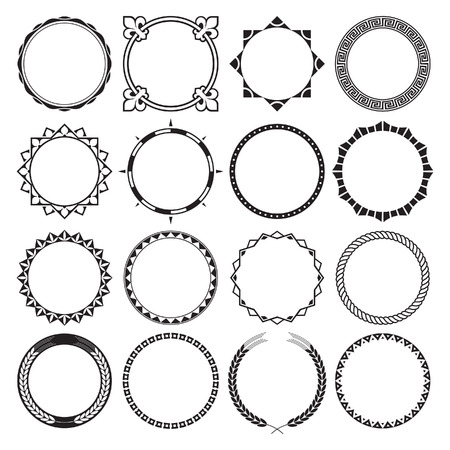 ropes: Collection of Round Decorative Border Frames with Clear Background. Ideal for vintage label designs. Illustration