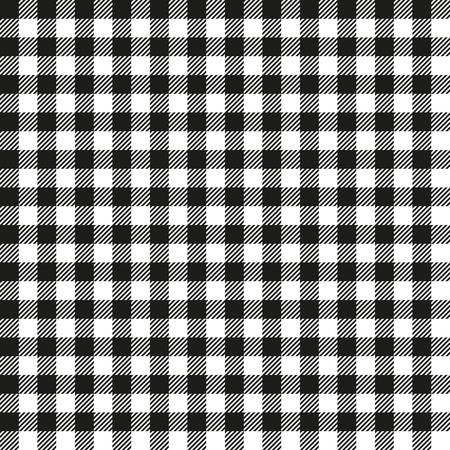 Seamless Coarse Black Checkered Plaid Fabric Pattern Texture