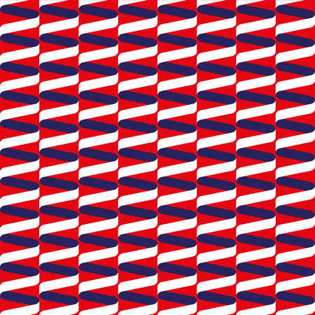 Seamless spiral ribbon wave pattern in red, white and blue