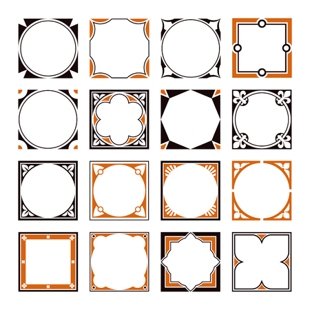 Collection of Square Decorative Border Frames with Clear Background. Ideal for vintage label designs.