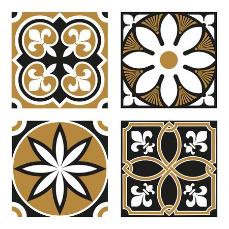 Vintage Ornamental Patterns in Gold and Black