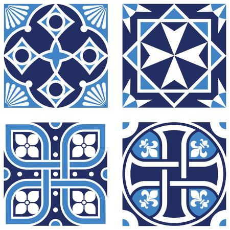 fleurdelis: Vintage Ornamental Pattern in tones of blue.