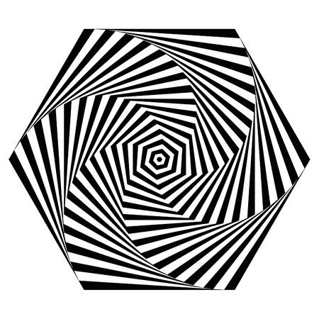 Op art hexagonal spiral swirl pattern Illustration