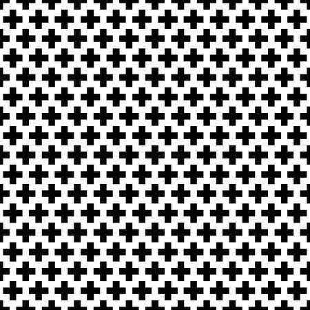 Seamless black and white Swiss Cross Shweizerkreuz pattern