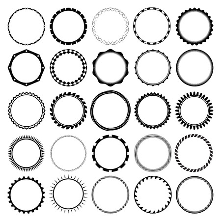 Collection of Round Decorative Border Frames with Clear Background. Ideal for vintage label designs. Vectores