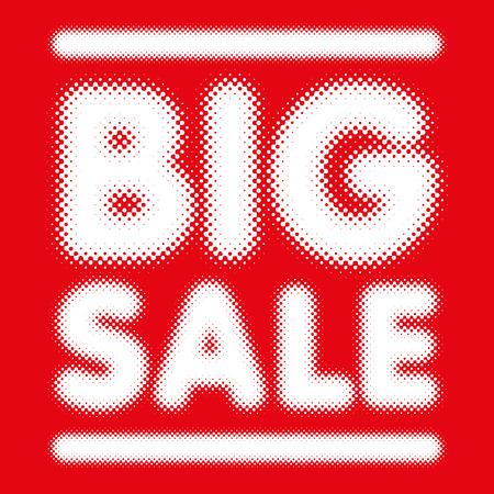 masthead: Big Sale banner in halftone font typeface Illustration