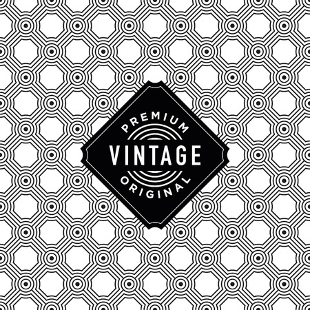 ideal: Vintage label with seamless pattern background. Ideal for packaging designs. Illustration