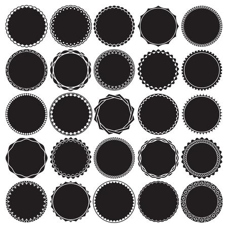 interlinked: Collection of Round Decorative Border Frames with Solid Filled Background. Ideal for vintage label designs. Illustration