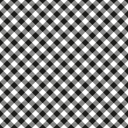 Seamless Black and White Checkered Plaid Fabric Pattern Texture