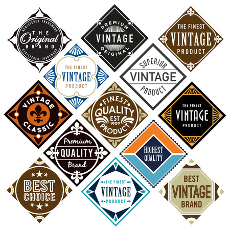 diamond shaped: Set or diamond shaped vintage labels Illustration