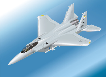 Detailed Isometric Vector Illustration of an F-15 Eagle Jet Fighter Flying Illustration