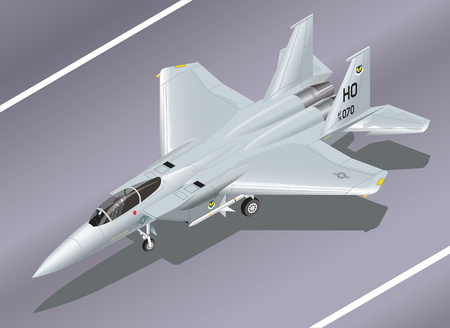supersonic: Detailed Isometric Vector Illustration of an F-15 Eagle Jet Fighter on the Ground