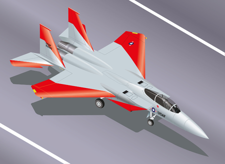 interceptor: Detailed Isometric Vector Illustration of an F-15 Eagle Jet Fighter on the Ground