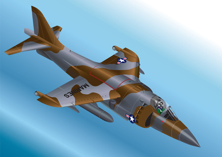 Detailed Isometric Vector Illustration of a US Marine Corp AV-8A / AV-8B Vertical Take Off Jet Fighter