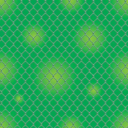 Seamless detailed chain link fence pattern texture with garden background. Ilustração Vetorial