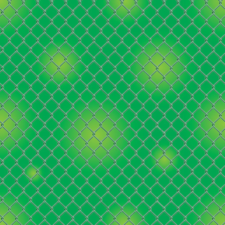 Seamless detailed chain link fence pattern texture with garden background.